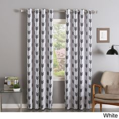 aurora home arrow grommet curtain panel pair 84 inches 52 x 84 white polyester graphic print