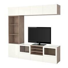 """BESTÅ TV storage combination/glass doors - walnut effect light gray/Selsviken high gloss/white clear glass, 94 1/2x15 3/4x90 1/2 """", drawer runner, push-open - IKEA"""
