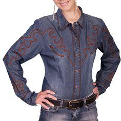 Scully Women's Long Sleeve Denim Soutache Western Shirt