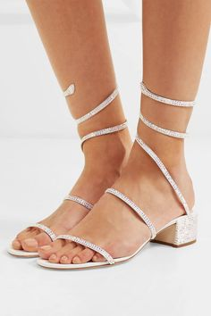 Rene Caovilla Cleo Crystal-embellished Satin And Leather Sandals - White Leather Slip Ons, Leather Sandals, Shoes Sandals, Heeled Sandals, Dress Shoes, Rene Caovilla Shoes, Best Hiking Shoes, Wide Fit Shoes, Sparkly Heels