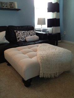 Black couch cream ottoman