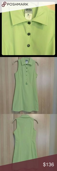 """Vintage Versace Jeans Couture dress! Made in Italy This is a Versace Jeans Couture dress in line, almost neon green.  Has snaps down the front and a side zipper.  Size marked is 28/42.  Measures about 34.5"""" from back of the neck to hem.  About 14"""" across at the waist, and about  16"""" across the back at the bust (though with the seams on the front, a slightly larger bust would fit.  The dress is in excellent vintage condition with no noticable flaws.  This is a rare chance for a dress like…"""