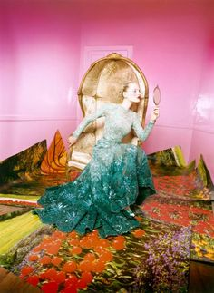 David Lachapelle (There is so much that I like about this. The dress and pose for one, but THE CHAIR, and the photos and pink walls and door. I love how there is so much going on.)