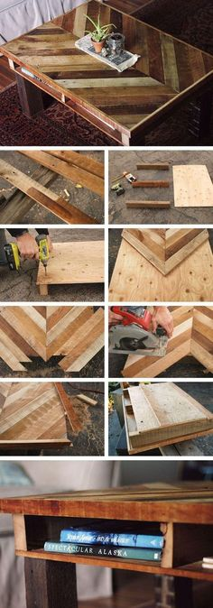 DIY Chevron Table // Great DIY pallet table with the chevron pattern.