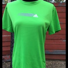 Adidas women's workout shirt like new large Lime green 100% polyester machine wash warm Adidas Tops