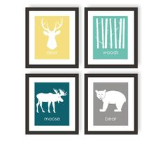 Woodland Nursery Modern Art Prints Yellow & Blue- Set of 4, Deer Head, Woods, Bear, Moose, Custom Nursery Decor, Forest Nursery - 5x7