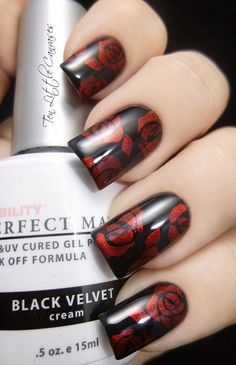 Black with Red Roses Manicure.
