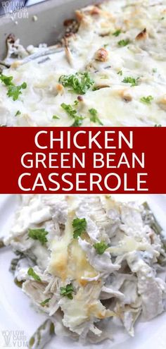 A low carb casserole made with shredded chicken and cut green beans in a creamy cheese sauce. Leftover turkey could also be used.