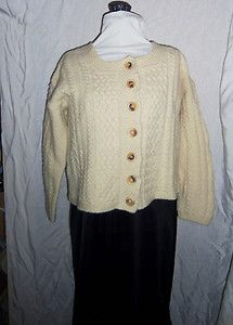 Size medium Aran wool sweater by Inis Crafts, Made in Ireland!