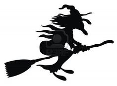Illustration of cartoon style flying witch silhouette Stock Photo