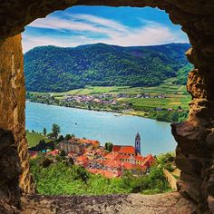 What a great view from the ruin Dürnstein one of my favorite places in the Wachau. Beautiful Landscape Photography, Beautiful Landscapes, Black And White Landscape, Great View, Austria, River, Places, Outdoor, Woodland Forest