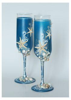 Blue Wedding Glasses. Wedding champagne glasses hand painted. Champagne Glasses For Beach Wedding. €40.00, via Etsy.