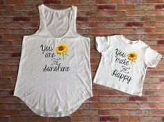 Mommy and me matching outfit, You are my sunshine Shirt, Mother and daughter shirt, mom shirt, Baby Shower Gift, New Mom Shirt by KyCaliDesign on Etsy