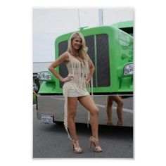 Custom VANS natural BABES & other bad ass transportation. Custom Big Rigs, Custom Trucks, Trucks And Girls, Car Girls, Girl Car, Sexy Outfits, Sexy Dresses, Big Rig Trucks, Semi Trucks