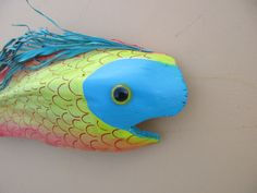 Fantasy Fish painted on palm frond by paintedpalmsbyjean on Etsy