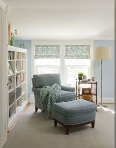 LIGHT BLUE ARMCHAIR | light blue armchair white bookshelf ... calm space for a quiet read via 'homeanddecor.net'★★★