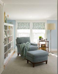 LIGHT BLUE ARMCHAIR | light blue armchair white bookshelf ... calm space for a quiet read via 'homeanddecor.net'★★★