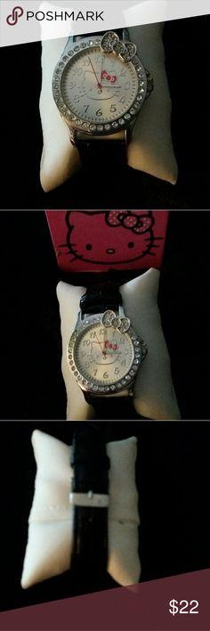 Sanrio Hello Kitty Women's Crystal Watch Black Band, Crystal Sanrio Jewelry