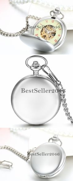 Necklace Watches 10329: Silver Antique Mechanical Skeleton Steampunk Mens Pocket Watch Necklace Chain -> BUY IT NOW ONLY: $33.98 on eBay!