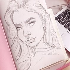 The sketch ape pape - Draw - Art Sketches Girl Drawing Sketches, Face Sketch, Portrait Sketches, Pencil Art Drawings, Pencil Portrait, Portrait Art, Portraits, Sketches Of Faces, Drawings Of Faces