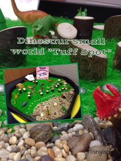 Dinosaur small world in the tuff spot - PICTURE ONLY - goes to FB page not instructions. Activities For Boys, Gross Motor Activities, Crafts For Kids, Dinosaur Small World, Small World Play, Reception Class, Tuff Spot, Tuff Tray, Sensory Boxes