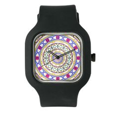 Colorful Clock In Blue And Gold Watch