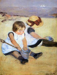 Children Playing on the Beach; Mary Cassatt 1884, Mary Cassatt was born in Allegheny City, Pennsylvania. The painting is of two young children playing on the beach. The artists techniques that are not traditional is that she did not make things crisp and clear, like the sail boats in the background.