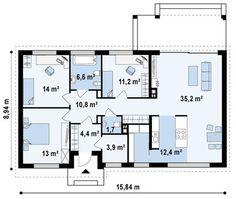 Проект удобного одноэтажного современного дома | Компания DOM4M Россия