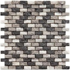 Griselda 12 in. x 11-1/2 in. Charcoal Natural Stone Subway Mesh-Mounted Mosaic Tile.  Fireplace surround?