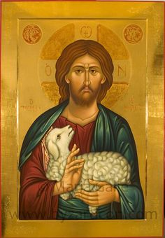 """I am the good shepherd. The good shepherd giveth his life for his sheep. Images Of Christ, Religious Images, Religious Icons, Religious Art, Byzantine Icons, Byzantine Art, Christ The Good Shepherd, Roman Church, Religious Paintings"
