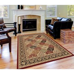 This Soho rug features beautiful tones of red, green, ivory and black in a beautiful Oriental pattern. The polypropylene construction makes this a durable, allergen-free area rug.