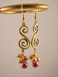 Gold Swirl Earrings with Glass Pearls by spymystic on Etsy