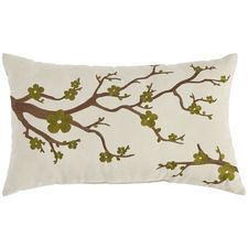 Cherry Blossom Embroidered Pillow - Moss