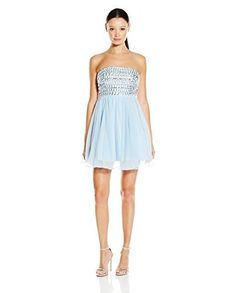 My Michelle  Strapless Party Dress with Fully Beaded Top and Wire Hem