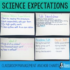 Science Classroom Expectations Anchor Charts - Working with interactive science notebooks, group labs, and science stations require special planning for classroom management. Find out more about my expectations during science. Sixth Grade Science, Kindergarten Science, Elementary Science, Science Classroom, Science Education, Teaching Science, Physical Science, Classroom Ideas, Classroom Organization