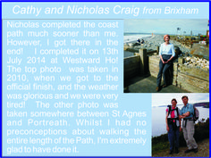 Cathy and Nicholas Craig from Brixham - South West Coast Path completers South West Coast Path, When Us, Top Photo, Paths, Pathways