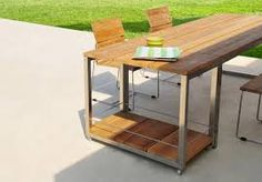Icon TrolleyTeak - Icon Teaktafel Old Teak - Inox Poten Garden Furniture, Furniture Design, Outdoor Furniture, Outdoor Tables, Outdoor Spaces, Outdoor Decor, Kitchen Cart, Teak, Dining Table