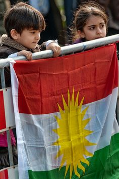 Kurdistan flag : The Kurdistan Region also known as Iraqi Kurdistan or South Kurdistan, is an autonomous region of northern Iraq. It borders Iran to the east, Turkey to the north, Syria to the west and the rest of Iraq to the south. The regional capital is Erbil, known in Kurdish as Hewlêr. The region is officially governed by the Kurdistan Regional Government...Wikipedia...