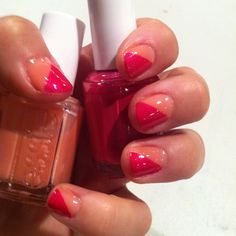 Essie. I did this the other day with but with different colors.