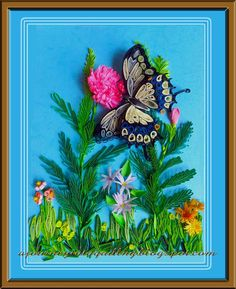 A Journey into Quilling & Paper Crafting: Quilled 3D Picture Frame- Swallowtail Butterfly Among Flowers