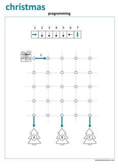 Coding Worksheet. Christmas. Programming maze. Preschool, Kindergarten, First grade worksheets: lookbookeducation.com First Grade Worksheets, Kindergarten Worksheets, Worksheets For Kids, Preschool Activities, Maze Worksheet, Computer Coding, Coding For Kids, Kindergarten Writing, Programming For Kids