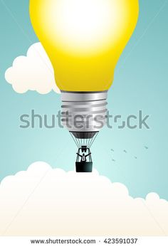 Businessman on air balloon made from light bulb, concept illustration of big idea, exploring creativity, solution, business concept - stock vector