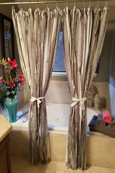 Boho Curtains Boho Shower Curtains Silver Glittery Curtains Ribbon Curtains  Fancy Shower Curtains Room Divider Silver And Gray Curtains