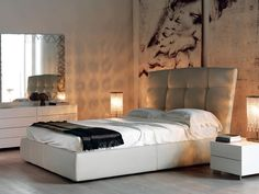 Upholstered storage bed MARSHALL - Cattelan Italia