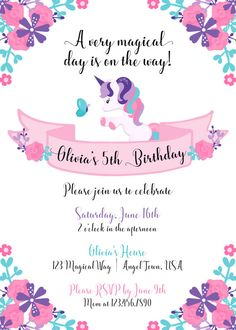 Unicorn Invitation Birthday Invites Party Invitations