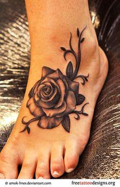 Foot tattoos :) Tattoo Designs For Girls, Best Tattoo Designs, Flower Tattoo Designs, Flower Tattoos, Butterfly Tattoos, Floral Foot Tattoo, Rose Tattoo Foot, Tattoo Feet, Rosen Tattoo Frau