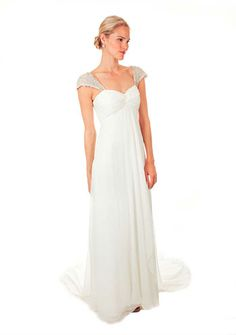 Nicole Miller - Antique White Embellished Cap Sleeve Bridal Gown