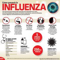 Con el inicio de la temporada invernal se incrementaron los casos de enfermedades que atacan el sistema respiratorio, como la influenza.  Conoce algunas recomendaciones para prevenirla. #Infographic