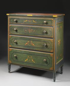 Federal Red-and-Green Paint-Decorated Yellow Pine and Poplar Chest of Drawers, Attributed to Johannes Braun, with decoration attributed to Johann Valentin Schuller, Jr., Mahantongo Valley, Pennsylvania, 1829