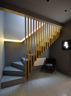 17 Best Light Stairs Ideas You Can Start Using Today Slatted oak stairs and balustrade, oak handrail, recessed LED light, grey Farrow and Ball interior. Home Stairs Design, Railing Design, Interior Stairs, Interior Design Living Room, Design Interior, Interior Architecture, Oak Stairs, Basement Stairs, House Stairs